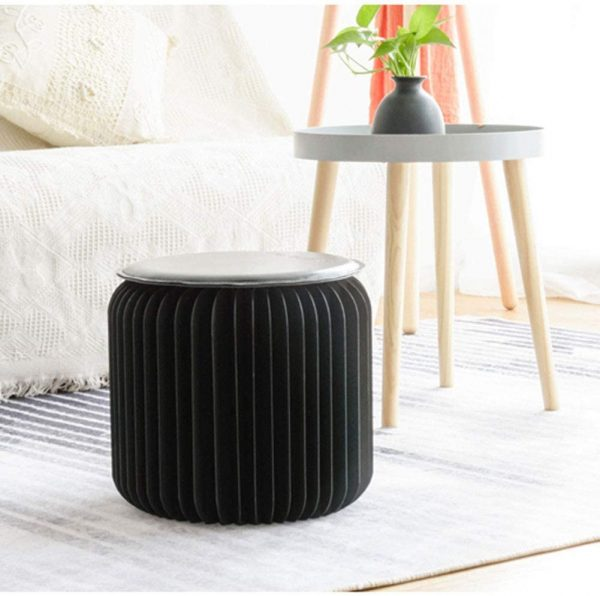 Nordic-style Folding Stool with Leather Mat