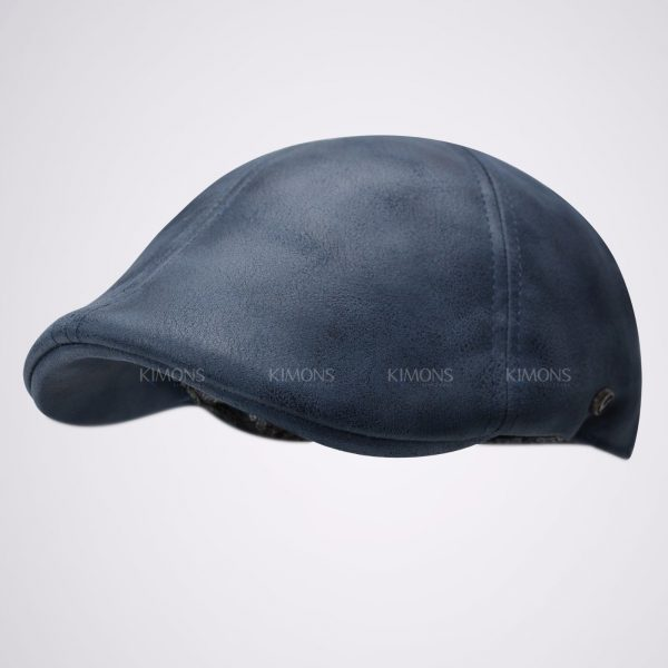 Vintage Leather Solid Gatsby Cap navy