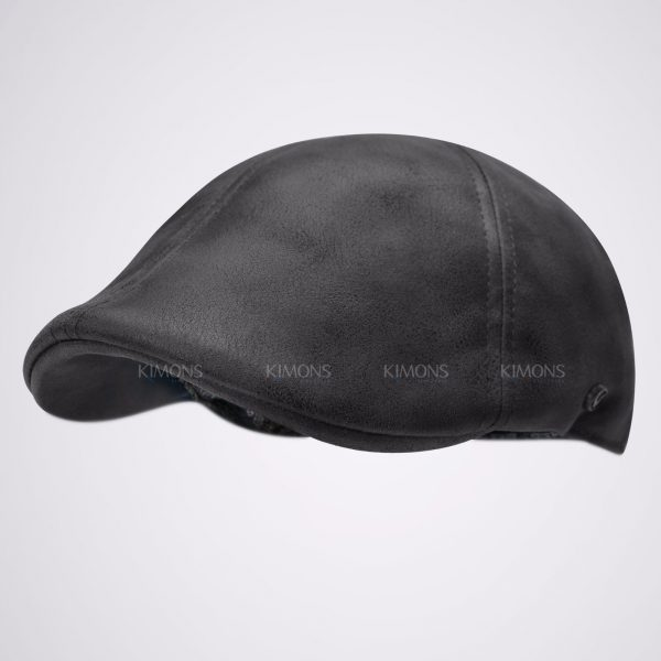 Vintage Leather Solid Gatsby Cap black