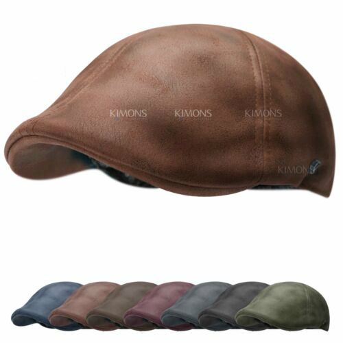 Vintage Leather Solid Gatsby Cap