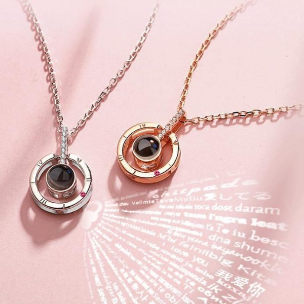 'I Love You' in 100 Languages Projection Pendant Necklace