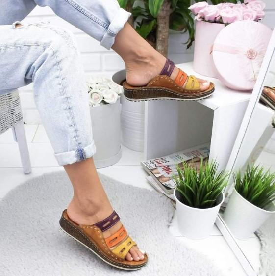 Chic Three-color Stitching Slip-on Sandals