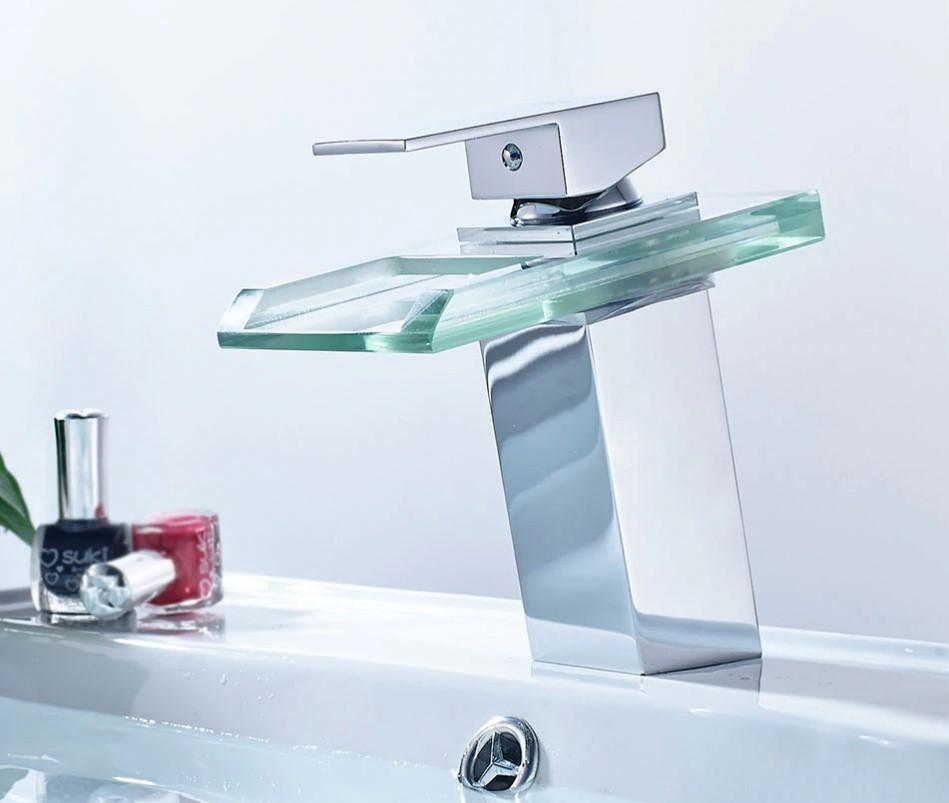 Basin Sink Waterfall Faucet With LED Colors