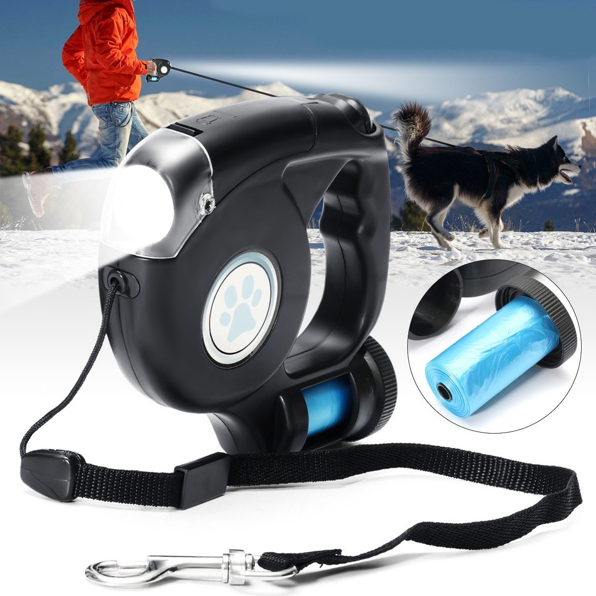 3-in-1 Dog Retractable Leash with Built-in Flashlight