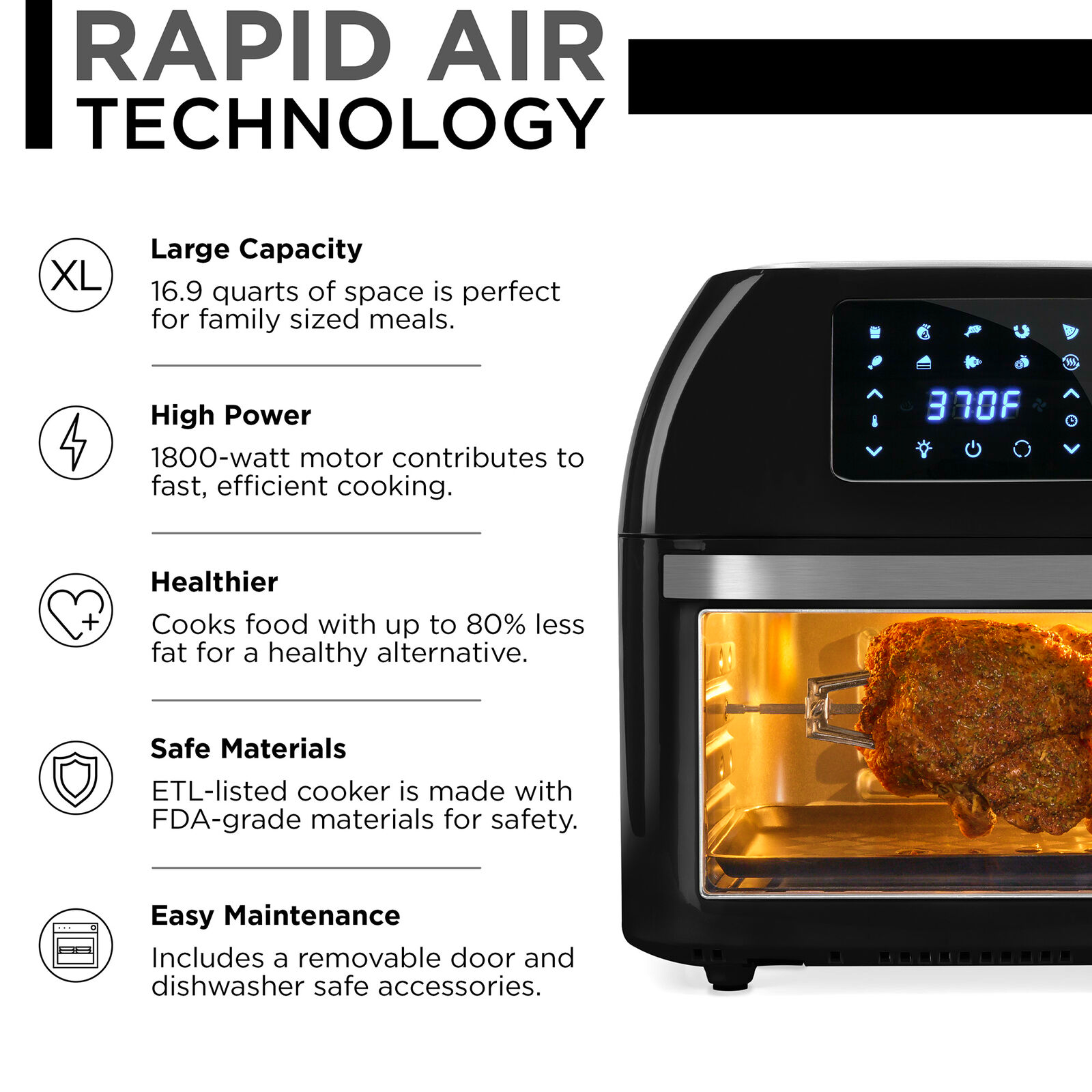 Air Fryer Countertop Oven, Rotisserie, Dehydrator (FREE SHIPPING - US ONLY)