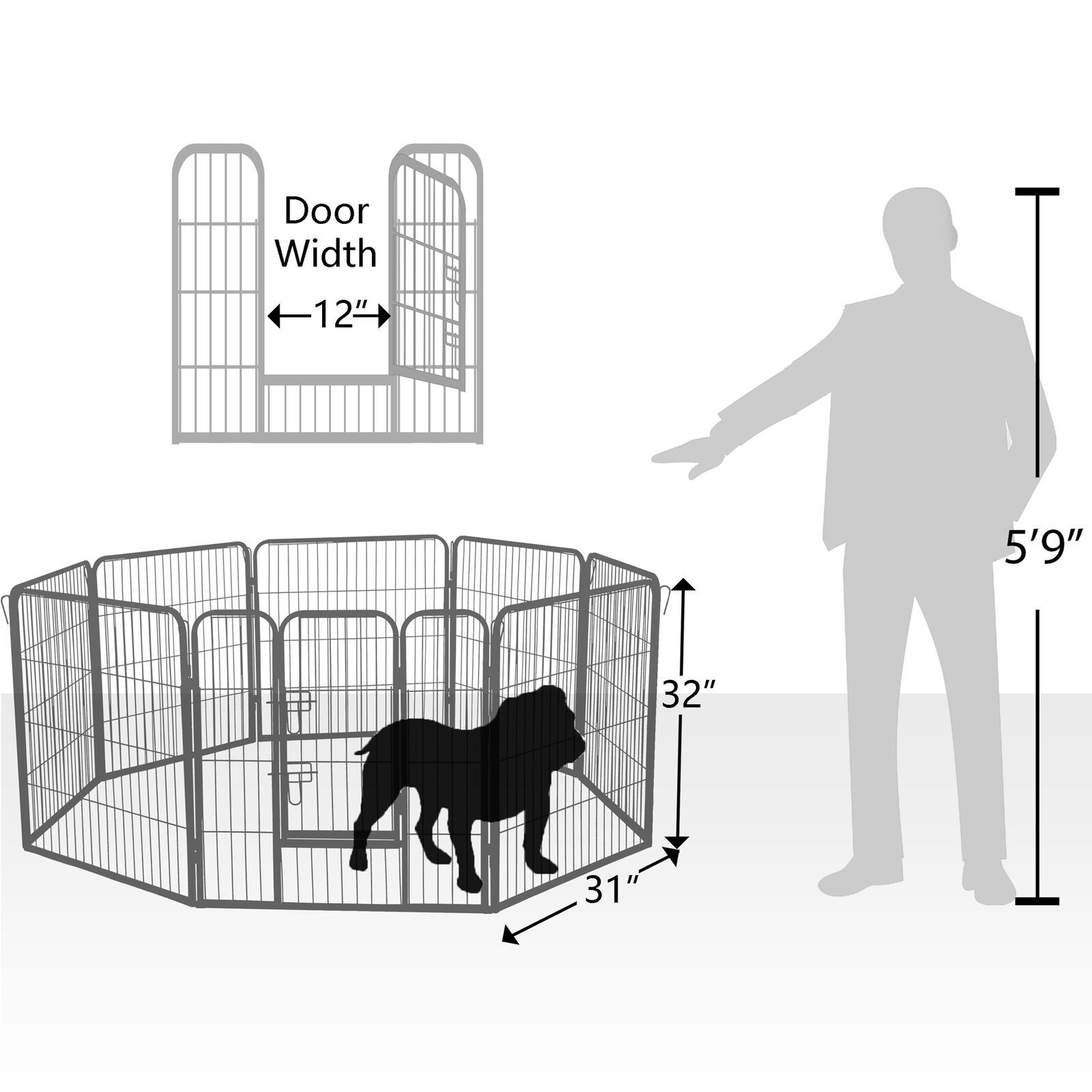 """Dog Pet Playpen Heavy Duty Metal Exercise Fence Folding Kennel 8 Panel 32"""" (FREE SHIPPING - US ONLY)"""