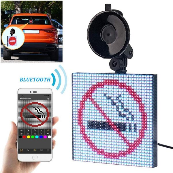 LED Display Screen Controlled Emoji, Car LED Display Screen, Picture Lights & Mini Accent Spotlights, Open LED Sign Bluetooth App for iOS and Android System